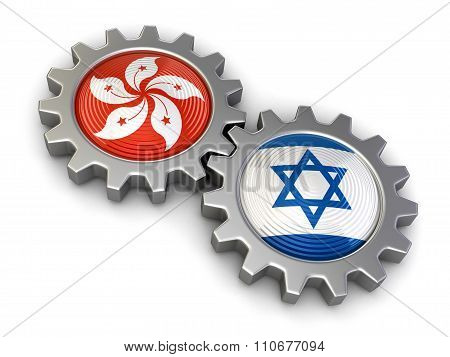 Hong Kong and Israeli flags on a gears. Image with clipping path
