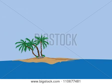 vector - three  palm tree on sand island