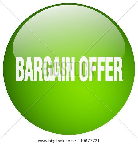 Bargain Offer Green Round Gel Isolated Push Button