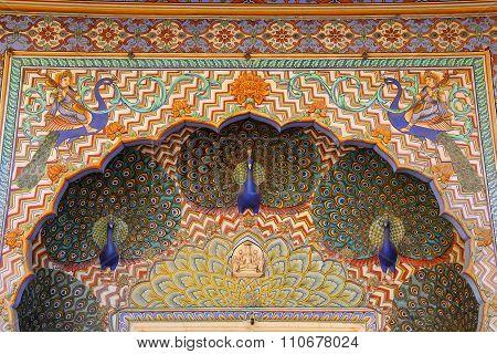 Close Up Of Peacock Gate In Pitam Niwas Chowk, Jaipur City Palace, Rajasthan, India