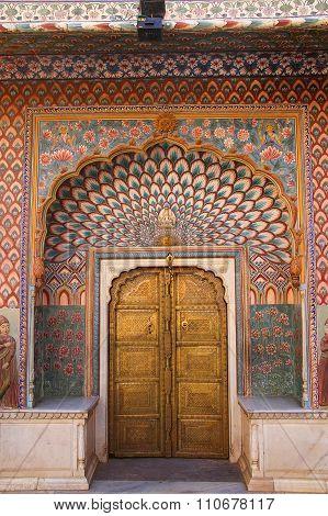 Lotus Gate In Pitam Niwas Chowk, Jaipur City Palace, Rajasthan, India