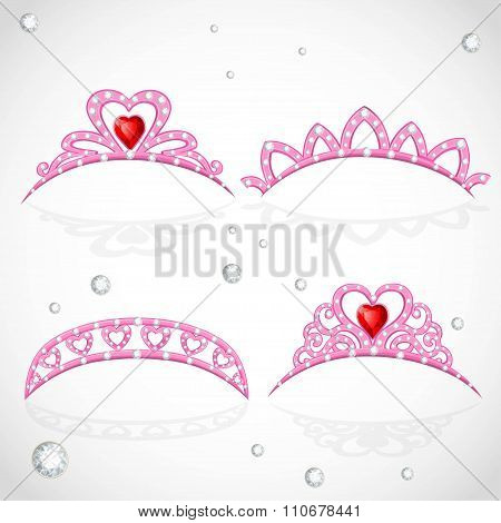 Pink Tiaras With Diamonds And Faceted Red Stones In A Heart Shap