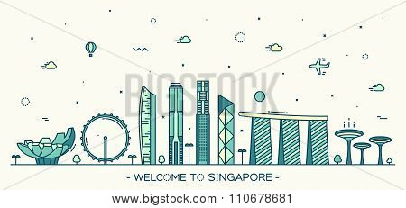 Skyline of Singapore detailed silhouette Trendy vector illustration linear style poster
