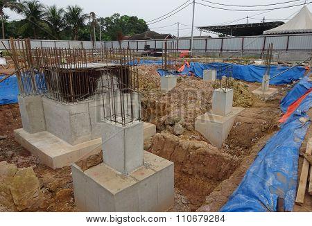Concrete pile cap concreted at the construction site