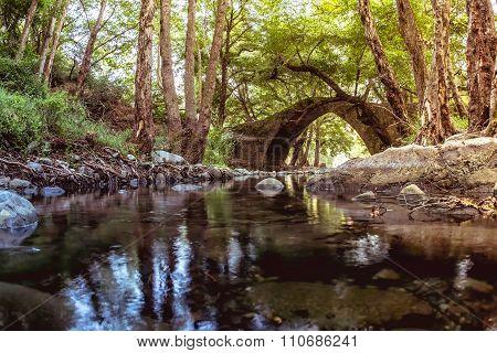 Kelefos Bridge. Most famous of the still remaining medieval bridges in Cyprus. Paphos district