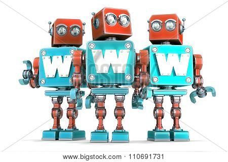 Group of vintage robots with WWW sign. Technology concept. 3D illustration. Isolated. Contains clipping path