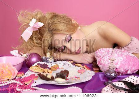 End Party Pink Princess Fashion Woman Sleeping