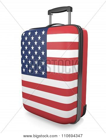 United States vacations and travel destinations concept of a flag painted suitcase