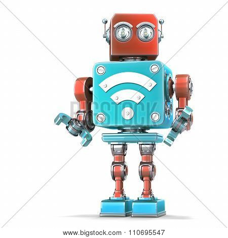 Vintage robot with Wi-Fi sign. Technology concept. 3D illustration. Isolated. Contains clipping path