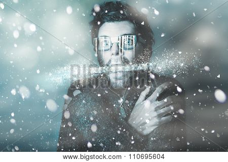 Ice Cold Winter Man In A Freeze Of Snow And Frost