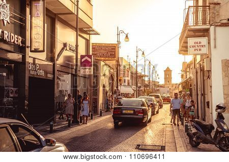 LARNACA, CYPRUS - SEPTEMBER 10, 2015: Pavlou Valsamaki street a touristic street leading to The Church of Saint Lazarus on September 10 in Larnaca. Color tone tuned photo