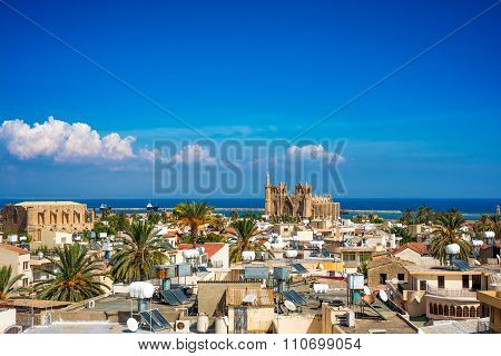 Old town of Famagusta (Gazimagusa) Cyprus. High elivated view.