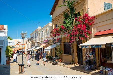 FAMAGUSTA CYPRUS - OCTOBER 10 2015: Locals and tourists walking on famous pedestrian street Istikal on OCTOBER 10 in Famagusta.
