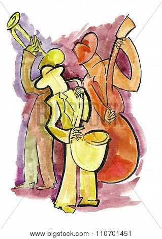 Jazz saxophonist, trumpeter and bassist playing music poster