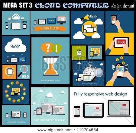 Mega Set Flat Computer Design Vector Illustration