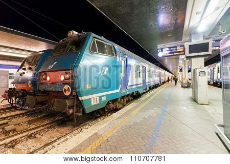 VENICE - SEPTEMBER 14, 2014: train at railway station of Venice. Venice is a city in northeastern Italy sited on a group of 118 small islands separated by canals and linked by bridges