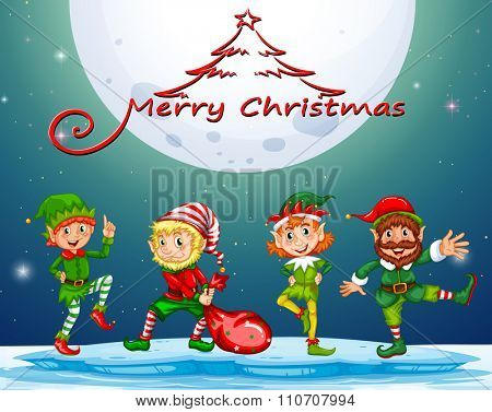 Christmas card with elf on fullmoon illustration