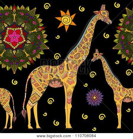 Beautiful adult Giraffe. Hand drawn Illustration of ornamental giraffe.  isolated giraffe on dark ba