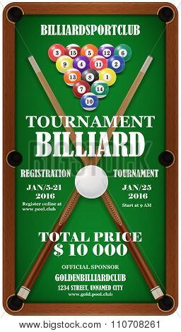 Design poster. Billiard Tournament. Vector illustration