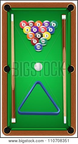 Billiard set. Billard balls, cue and billiard triangle in a pool table. Vector illustration