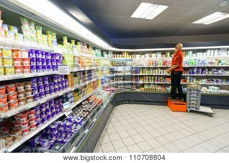 GENEVA, SWITZERLAND - SEPTEMBER 15, 2014: interior of Migros supermarket. Migros is Switzerland's largest retail company, its largest supermarket chain and largest employer