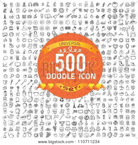 Set of 500 doodle icon