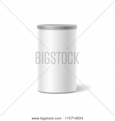 White tin box packaging container for tea or coffee isolated illustration