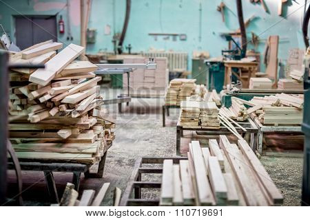 Furniture Industrial Factory With Timber Storage And Lumber Mill