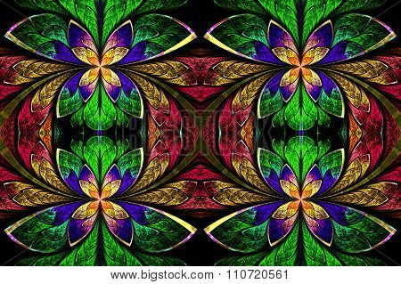 Multicolored Symmetrical Pattern In Stained-glass Window Style. On Black. Computer  Graphic
