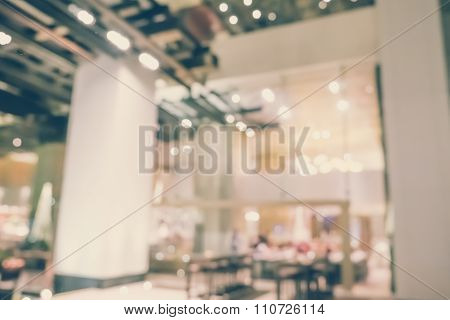 Blurred Defocussed Abstract Background Of Restaurant In Hotel With Vintage Color Effects