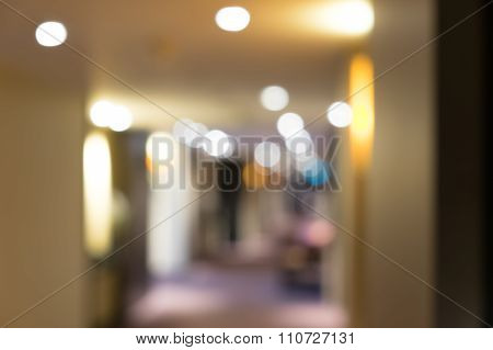 Blurred Defocussed Abstract Background Of Hotel Corridor With Lights