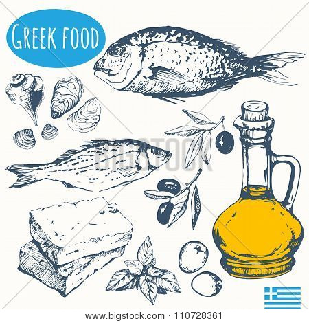 Greek food in the sketch style. Mediterranean traditional products.