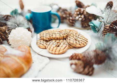 Breakfast With Croissants, Cookies, Milk And Butter