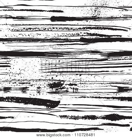 Vector Seamless Pattern With Ink Stripes And Strokes