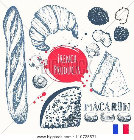French food in the sketch style. European traditional products.