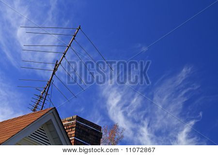 Directional TV Antenna on a House Top