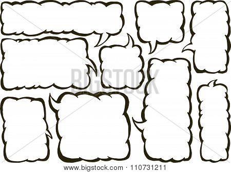 Vector set of squared text ballonos.