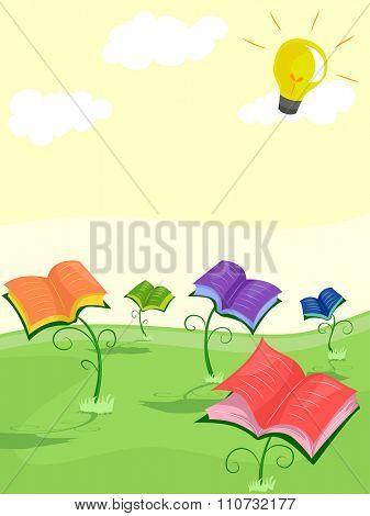 Illustration of Open Books Bathing Under the Sun