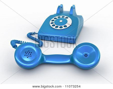 Old-fashioned Disk Phone On White Isolated Background