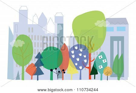 City And Nature Ecology  - Concept Vector Illustration With, Flowers And Buildings