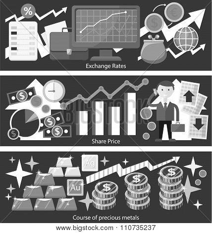 Concept Exchange Rates Flat Design Style