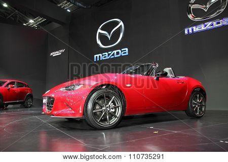 Bangkok - December 1: Mazda Mx-5 Car On Display At The Motor Expo 2015 On December 1, 2015 In Bangko