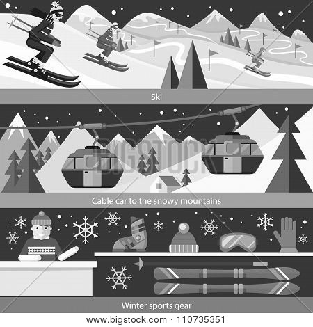 Concept Skiing Winter Sport Flat Style