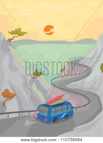 Illustration of a Microbus Driving Along a Coastal Road