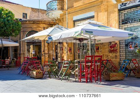 Nicosia, Cyprus - December 3: Old Fashioned Cafe Terrace At Fanairomenis Street In Central Nicosia,