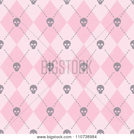 Seamless pink pattern with funny skulls.