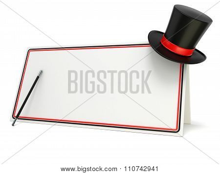 Magic wand and hat on blank board with black and red border. 3D