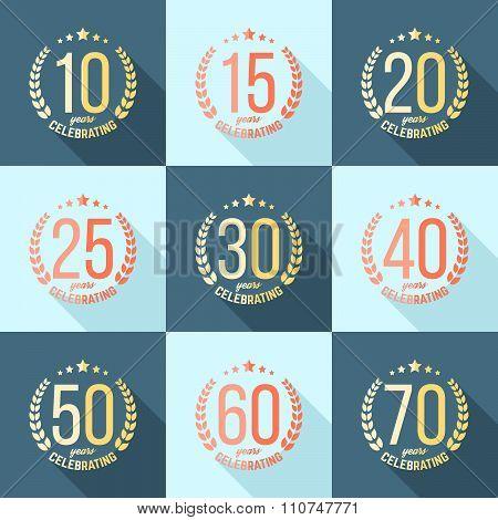 Ten, fifteen, twenty, thirty, forty, fifty, sixty, seventy years flat jubilee design elements.