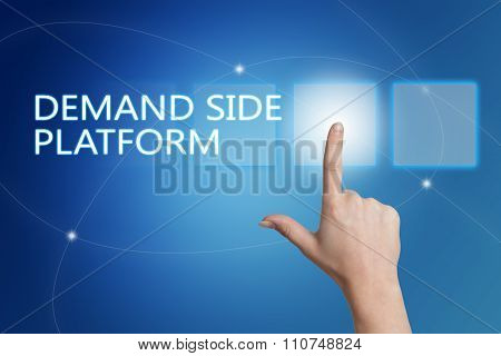 Demand Side Platform - hand pressing button on interface with blue background. poster