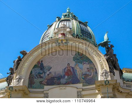 The facade of the Municipal House in Prague, Czech Republic.